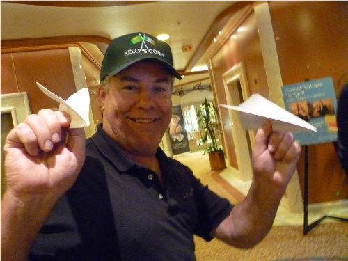 paper airplane contest on cruise ship