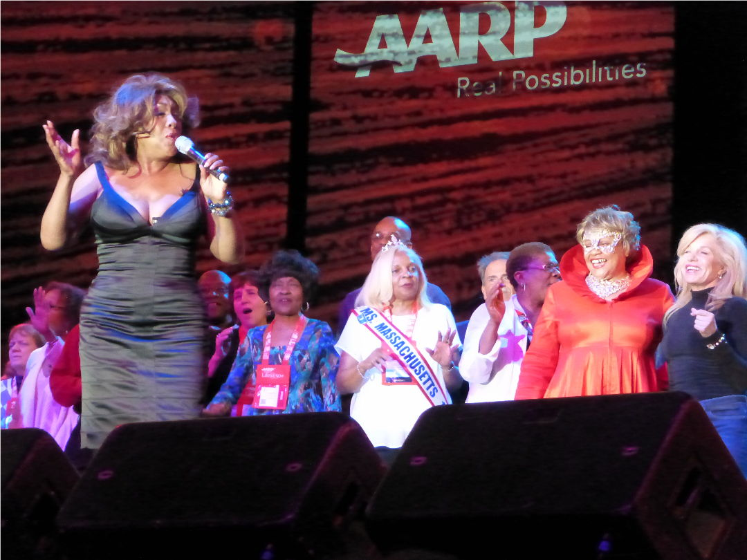 Mary Wilson, age 70, gets the Boomers partying
