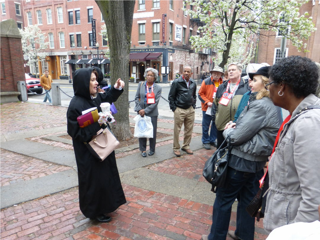 Our AARP Historic Boston tour in Paul Revere square